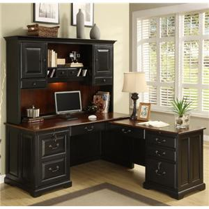 Riverside Furniture Bridgeport  L-Shape Computer Workstation Desk with Hutch
