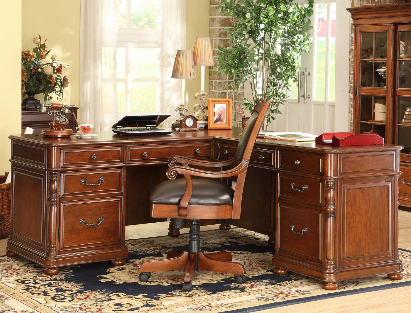 office l desk. Riverside Furniture Bristol Court Large Cherry L Desk And Return | Wayside L-Shape Office