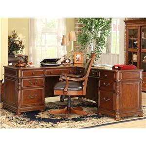 Riverside Furniture Bristol Court Cognac Cherry Finished Rectangular Executive Desk