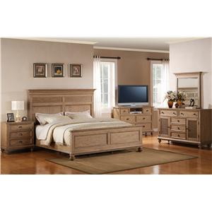 Riverside Furniture Coventry King Upholstered Headboard Bed with Storage Footboard