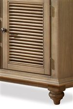 Select Pieces Feature Charming Shutter Panel Detailing & Turned Bun Feet Bring a Country Charm