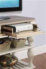 Includes Plentiful Storage Options with Drop-Front Drawers & Adjustable Shelving
