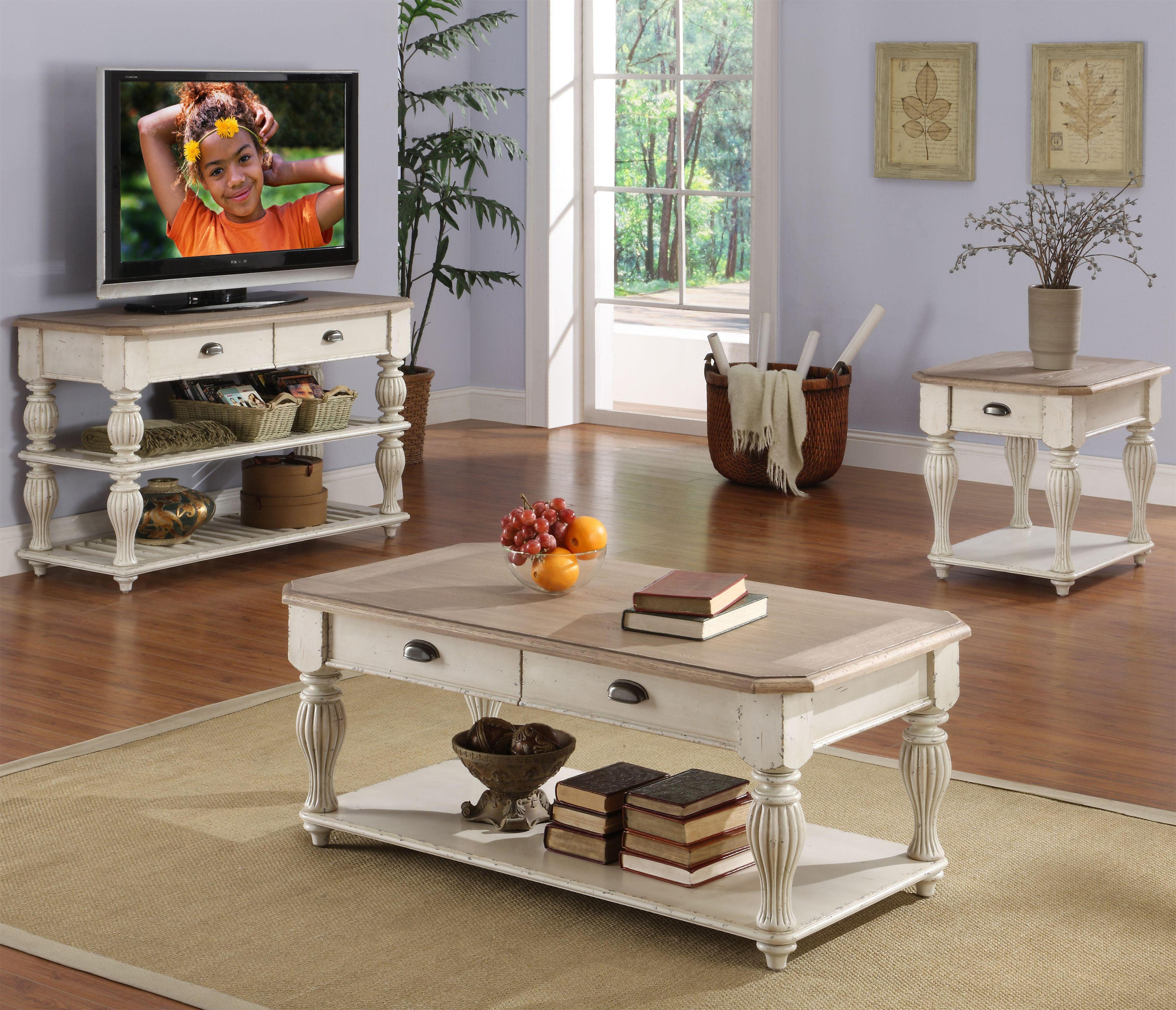 Riverside Furniture Coventry Two Tone Rectangular Cocktail Table With 2  Drawers   Wayside Furniture   Cocktail Or Coffee Table