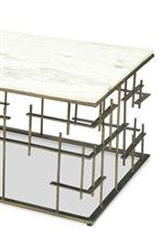 White marble tops are paired with a modern metal base in a worn, antiqued finish