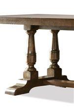 Trestled Legs of Alder Hardwood Solid Rectangular Table