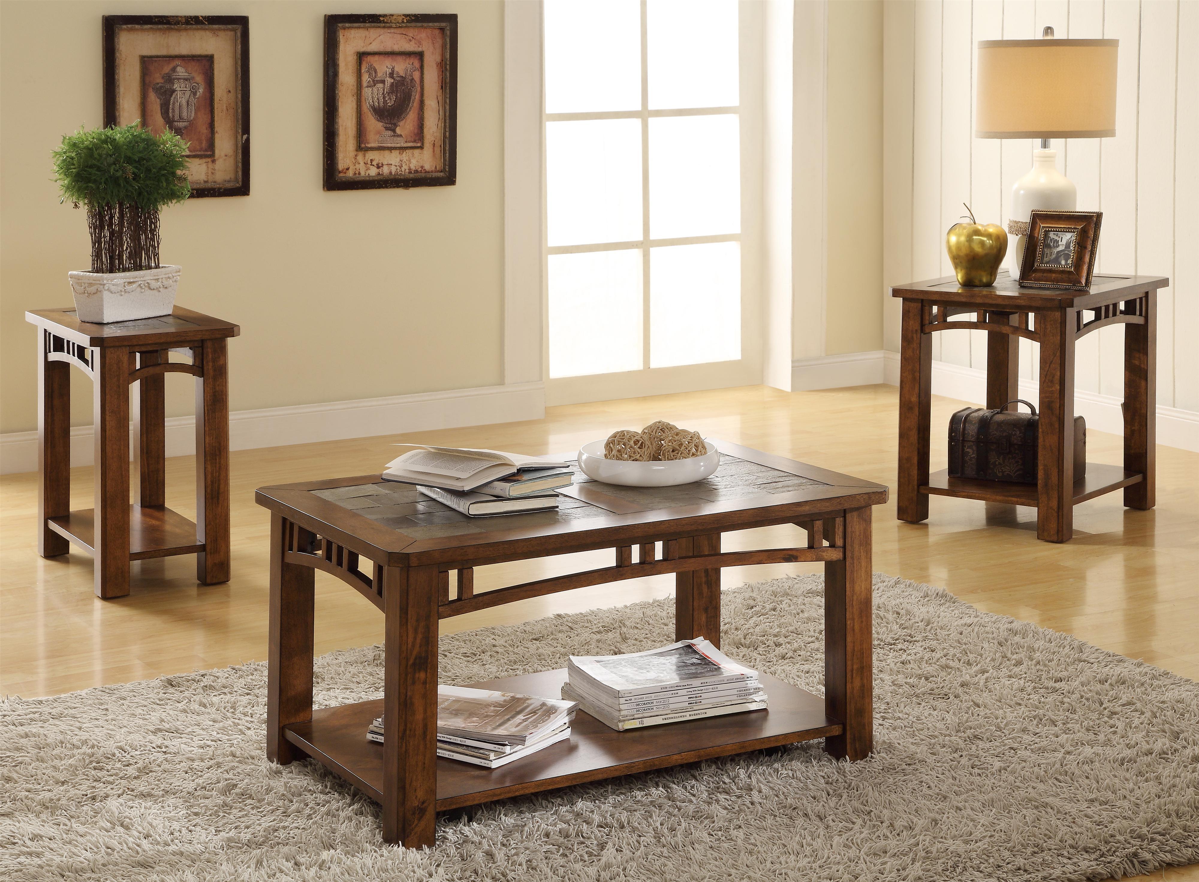Riverside Furniture Preston Coffee Table w Slate Top Wayside