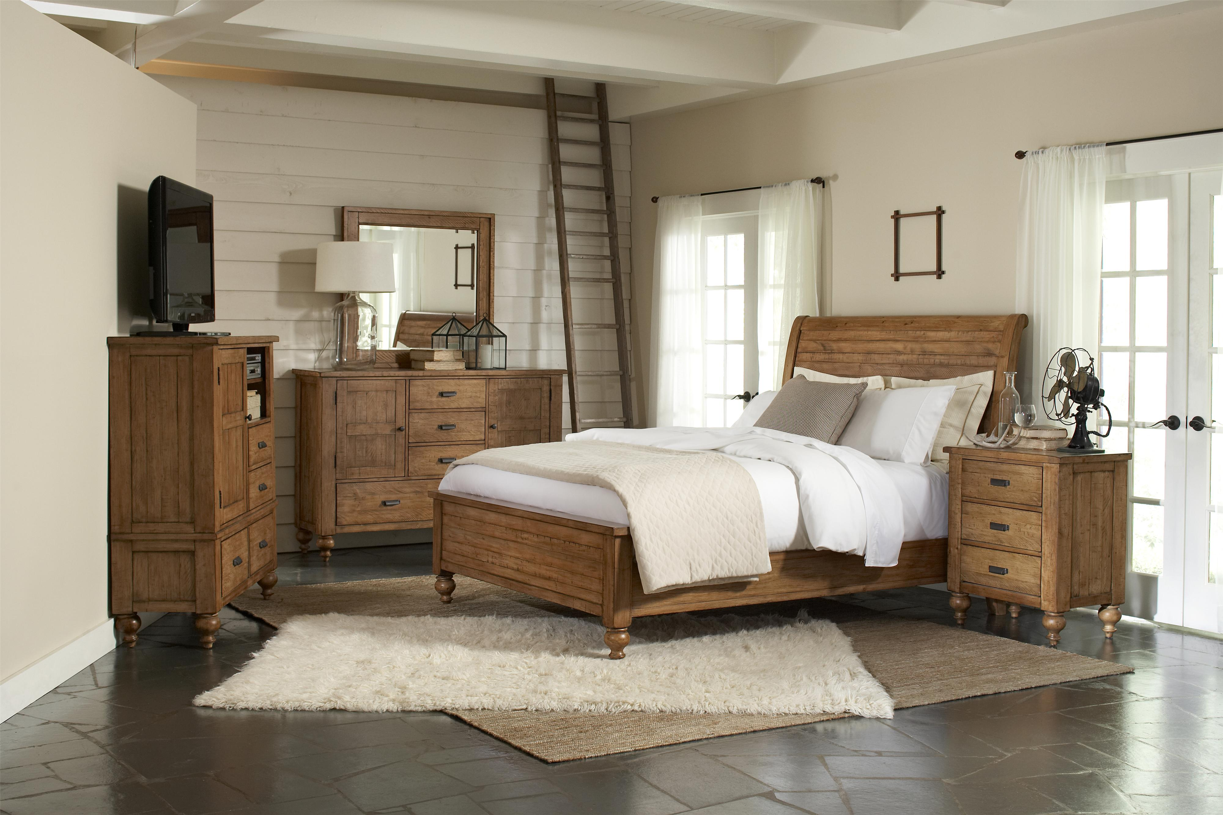 Rustic Pine Bedroom Furniture riverside furniture summer hill queen low profile storage bed