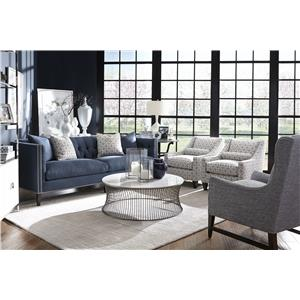Robin Bruce Brette Tufted Back Tuxedo Arm Sofa with Bench Cushion