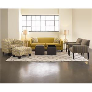 Rowe Easley Contemporary Upholstered Chair with Flared Track Arms and Wood Feet
