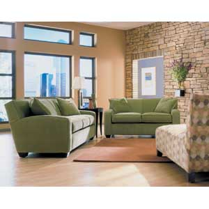 Rowe Horizon Transitional Sofa with Wood Legs