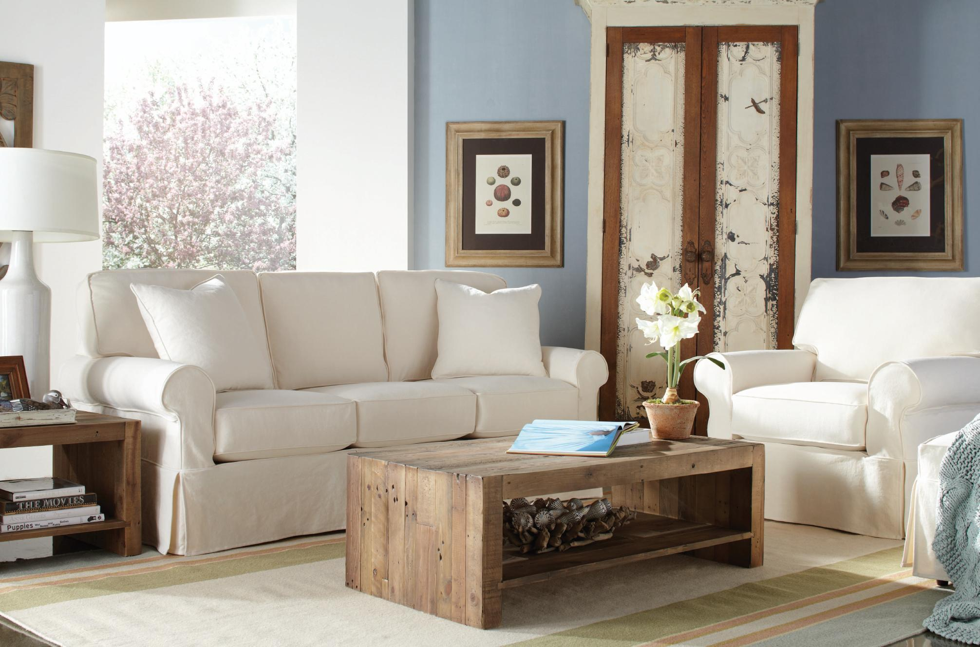 "Rowe Nantucket 84"" Slipcover Sofa Chaise Belfort Furniture"