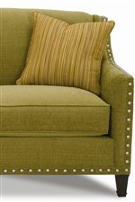 Brass Nailhead Trim, Exposed Wood Legs, and Welted Down Throw Pillows