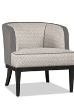 Welt-Trimmed Barrel Back Chair Available in Two Contrasting Fabrics or All-Over Color