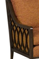 Exposed Wood Track Arms with Striking Lattice Detailing