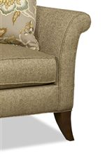 Flared, Rounded Arms with Welt Borders and Stylish Flared Block Legs