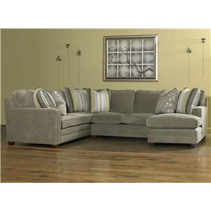 Sam Moore Ricky Contemporary Three Piece Sectional Sofa with Toss Pillows