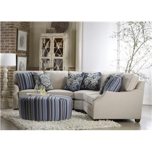 Sam Moore Rita Transitional Three Piece Sectional Sofa with RAF Sofa Return