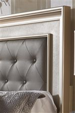 Faux Leather Coverings and Tufted Headboard