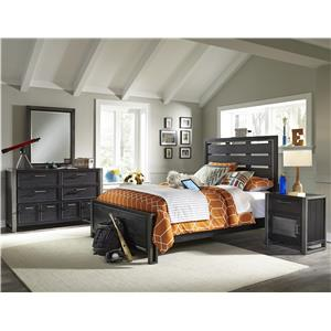 Samuel Lawrence Graphite Full Bed with Slat Back Headboard