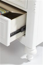 Detail of Open Drawer and Hidden Storage Compartment in Nightstand