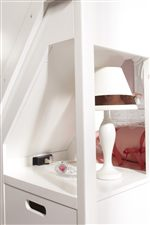 Detail of Built-In Outlet and Drawer Behind Steps in Bunk Bed with Steps and Three Drawers
