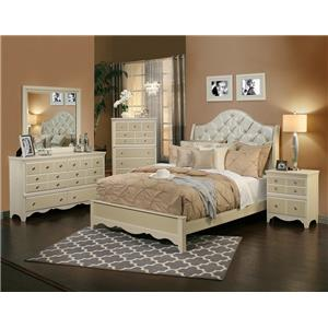 Sandberg Furniture Marilyn Queen Bed with Diamond Tufted Headboard