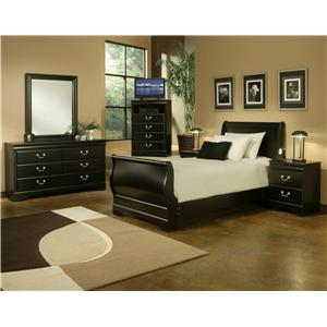 Sandberg Furniture Regency Twin Transitional Dark Brown Sleigh Bed