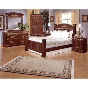 Sandberg Furniture Renaissance Marble King Traditional Brown Estate Bed with Fluted Columns