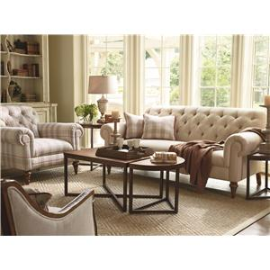 Schnadig Lynn Button Tufted Sofa With Exposed Wood Legs And Rolled Armrests