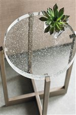Glass Bubble Tops Marry with the Industrial Metal Look in Accent Table Pieces