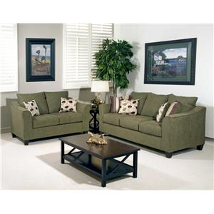 Serta Upholstery 1225 Casual Upholstered Love Seat with Flare Tapered Arms