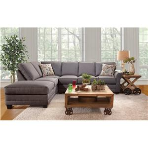 Serta Upholstery by Hughes Furniture 3700 Casual Sectional Sofa with Chaise