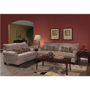 Casually Styled Sofa and Loveseat