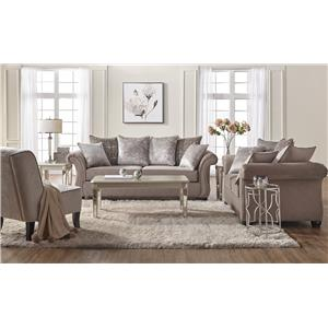 Nice Serta Upholstery By Hughes Furniture 7500 Traditional Stationary Loveseat  With Nailhead Trim
