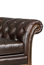 Chesterfield Sofa Features Wide Rolled Arms, Button Tufting, and Nailhead Trim