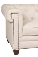 Square Track Arms, Nailheads, And Tapered Legs Add A Modern Touch To The  Chesterfield Silhouette