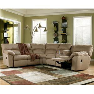 Signature Design by Ashley Amazon - Mocha Casual L-Shaped Sectional Sofa with Pillow Arms