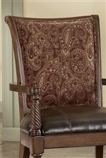 Carved Wood Details of Faux Leather/Fabric Accent Chair