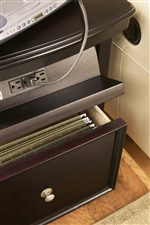 Drop-Front Top Ledge with Electrical Outlet and File Storage Drawer in Chairside End Table