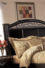 Satin Nickel Color Foiled Flutes Accent the Headboard