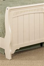 Curvy Sleigh Footboard with Graphic Leaf Detail
