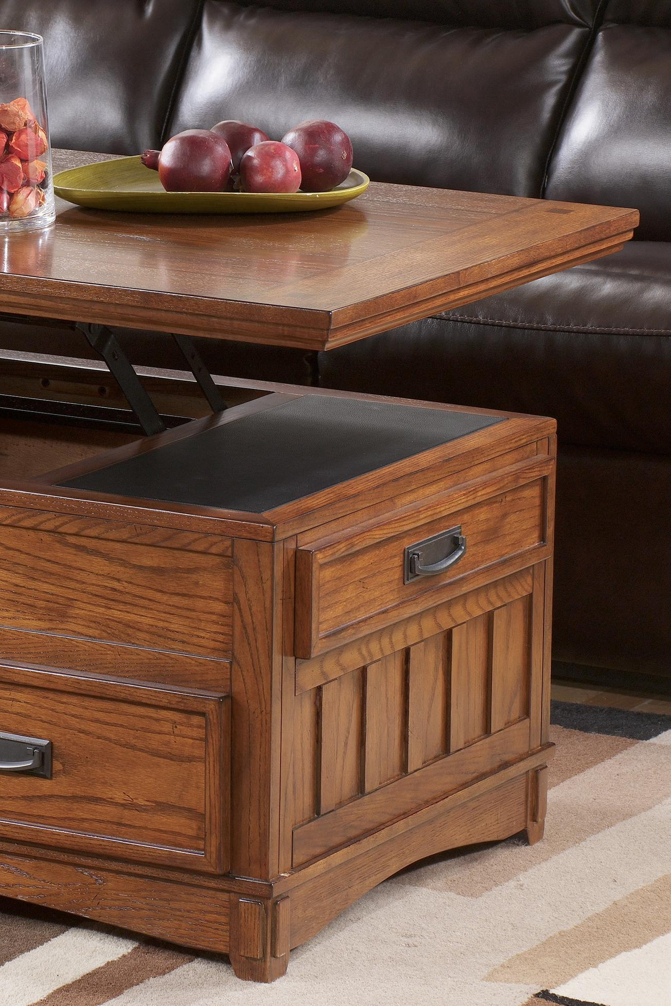 Signature Design By Ashley Cross Island Mission Rectangular Storage Lift Top Tail Table Casters Wayside Furniture Or Coffee