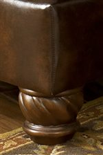 Exposed Wood Bun Feet with Elegant Carved Detail