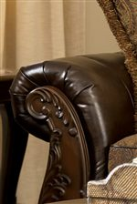 Plush Rolled Leather Arms