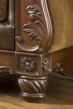 Exposed Wood Bun Feet and Leaf Scrolling add Ornate Detail