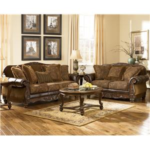 Signature Design by Ashley Furniture Fresco DuraBlend - Antique Stationary Living Room Group