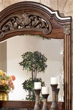 Carved and Bead Detail Shown on Dresser Mirror