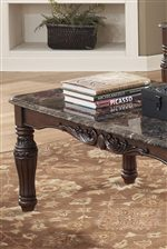 Old World Carved Details with Faux Marble Tops