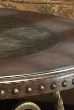 Nailhead Trim and Etched Metal Detail on Table Top