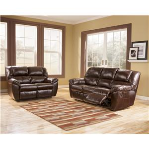 Signature Design by Ashley Furniture Rouge DuraBlend - Mahogany Power Rocker Recliner